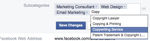 how to add subcategories to facebook