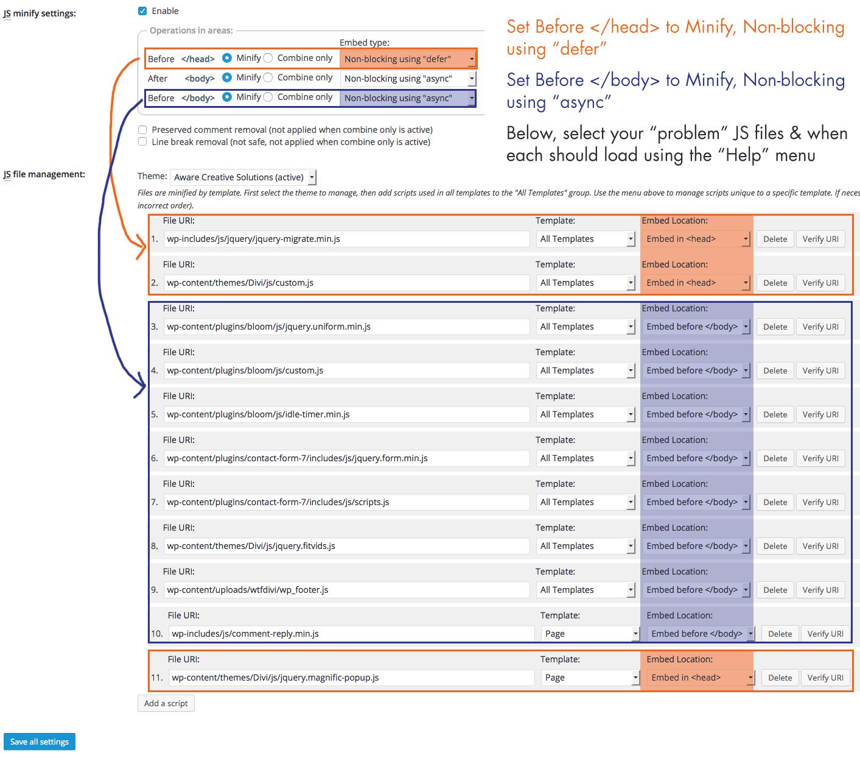 W3TC Javascript Minify settings