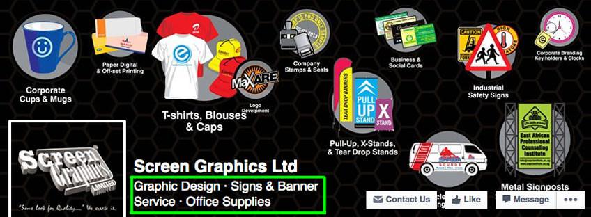 facebook subcategories screen graphics
