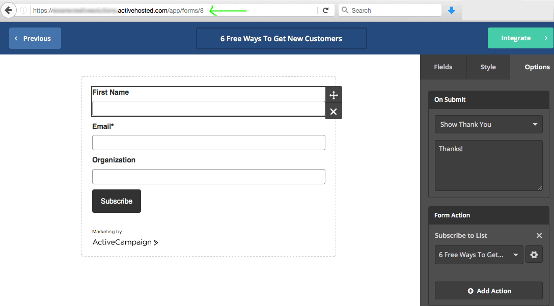 activecampaign form id in form settings page