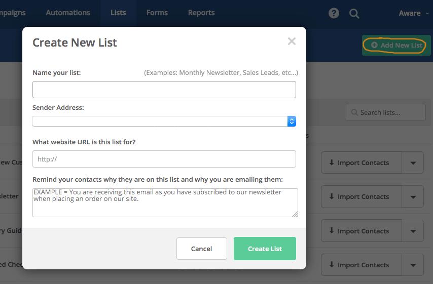 create new list activecampaign