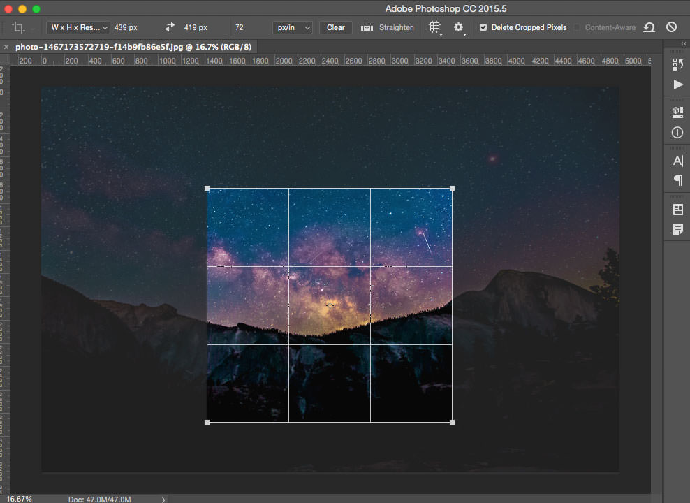 Photoshop constrained crop square