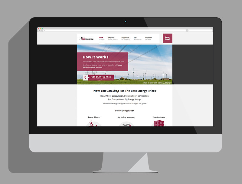 USA Energy Options web design, how it works page