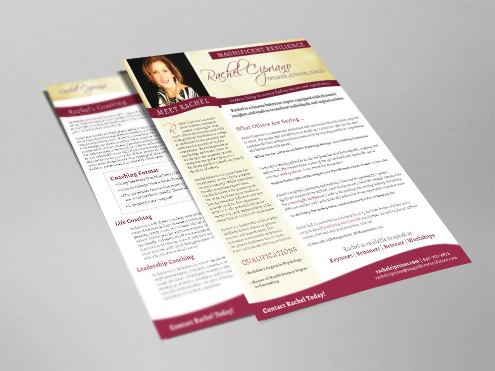 sell sheet flyer design for speaker author coach